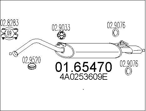 Silencieux arriere MTS 01.65470 (X1)