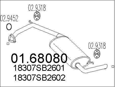 Silencieux arriere MTS 01.68080 (X1)