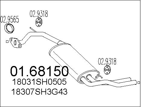 Silencieux arriere MTS 01.68150 (X1)