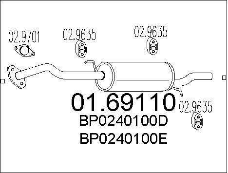Silencieux arriere MTS 01.69110 (X1)