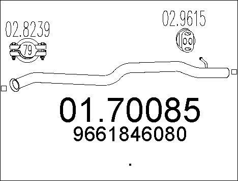 Tube d'echappement MTS 01.70085 (X1)