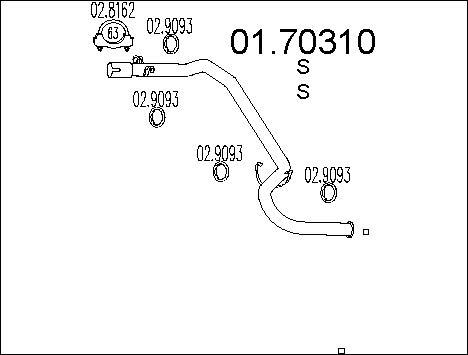 Tube d'echappement MTS 01.70310 (X1)