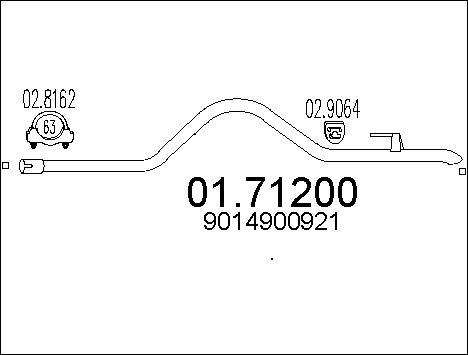 Tube d'echappement MTS 01.71200 (X1)