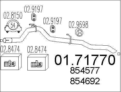 Tube d'echappement MTS 01.71770 (X1)