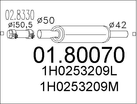 Silencieux central MTS 01.80070 (X1)