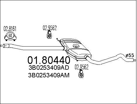 Silencieux central MTS 01.80440 (X1)