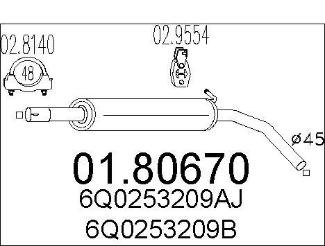 Silencieux central MTS 01.80670 (X1)