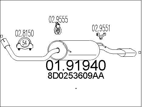 Silencieux arriere MTS 01.91940 (X1)