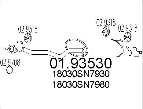 Silencieux arriere MTS 01.93530 (X1)