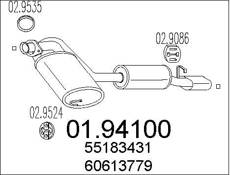 Silencieux arriere MTS 01.94100 (X1)
