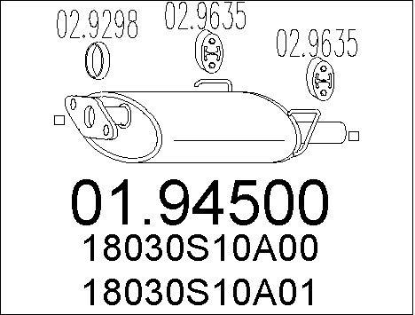 Silencieux arriere MTS 01.94500 (X1)