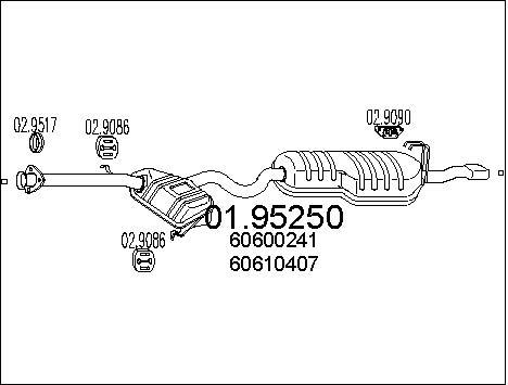 Silencieux arriere MTS 01.95250 (X1)