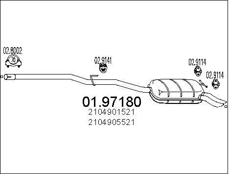 Silencieux MTS 01.97180 (X1)