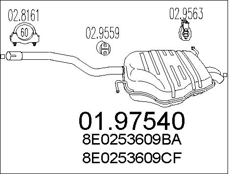 Silencieux arriere MTS 01.97540 (X1)