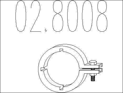 Raccord de tuyau d'echappement MTS 02.8008 (X1)