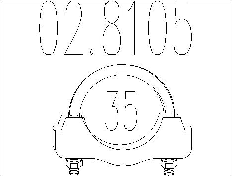 Raccord de tuyau d'echappement MTS 02.8105 (X1)
