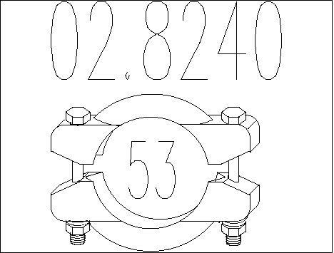 Raccord de tuyau d'echappement MTS 02.8240 (X1)
