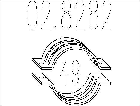 Raccord de tuyau d'echappement MTS 02.8282 (X1)