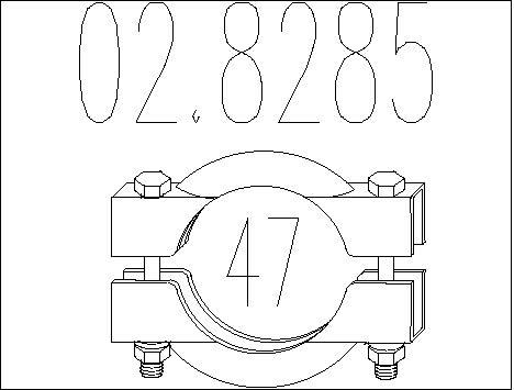 Raccord de tuyau d'echappement MTS 02.8285 (X1)