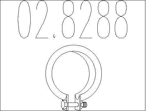 Raccord de tuyau d'echappement MTS 02.8288 (X1)