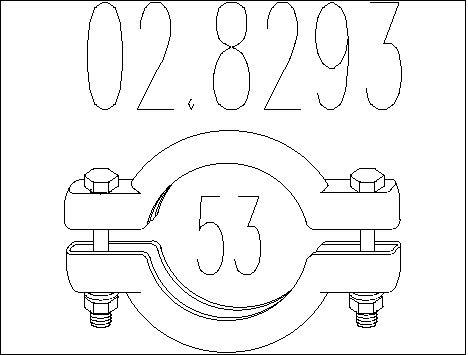 Raccord de tuyau d'echappement MTS 02.8293 (X1)