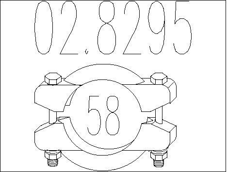 Raccord de tuyau d'echappement MTS 02.8295 (X1)