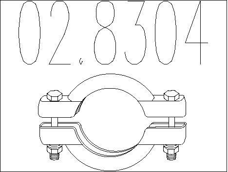 Raccord de tuyau d'echappement MTS 02.8304 (X1)
