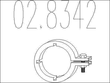 Raccord de tuyau d'echappement MTS 02.8342 (X1)