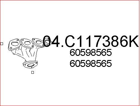 Tube d'echappement MTS 04.C117386K (X1)