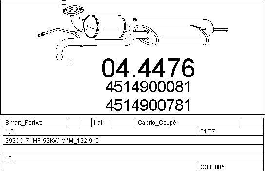Silencieux, catalyseur, intermediaire MTS C330005026826 (X1)