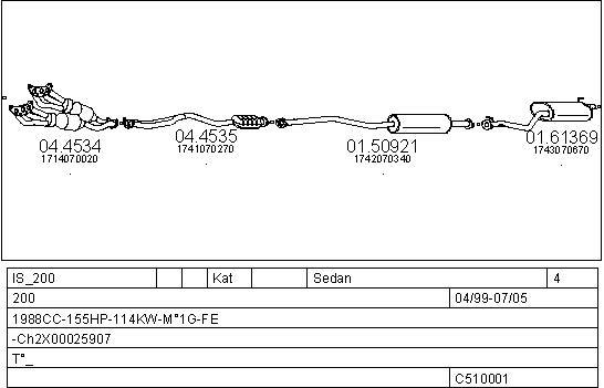 Silencieux, catalyseur, intermediaire MTS C510001030227 (X1)