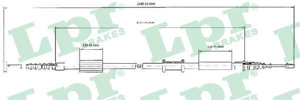Cable de frein à main LPR C0208B (X1)