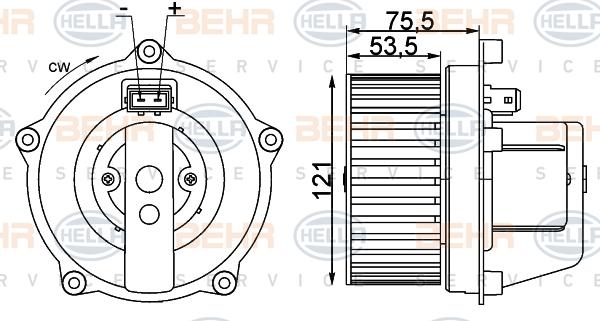 Chauffage et climatisation HELLA 8EW 009 100-341 (X1)