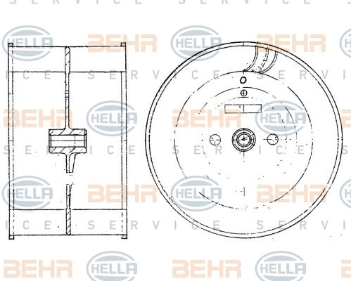 Roue de ventilateur de chauffage HELLA 8EW 009 160-131 (X1)