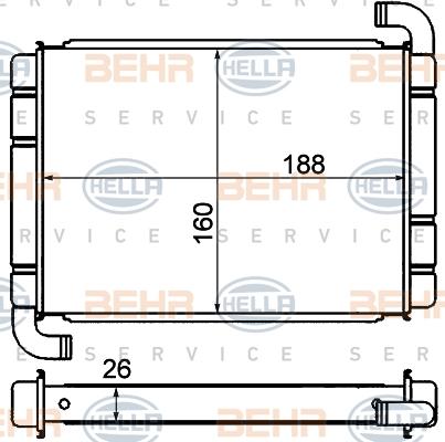 Radiateur de chauffage HELLA 8FH 351 000-571 (X1)