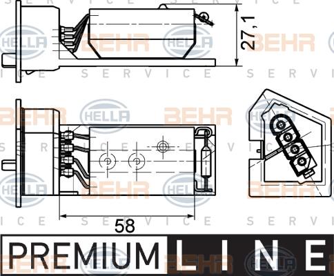 Resistance moteur de ventilateur de chauffage HELLA 9ML 351 029-131 (X1)