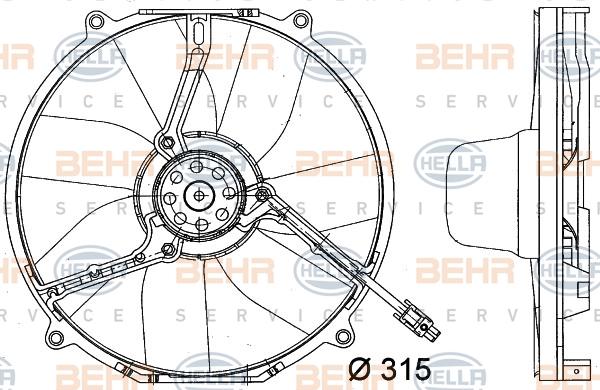 Ventilateur de condenseur HELLA 8EW 351 034-771 (X1)