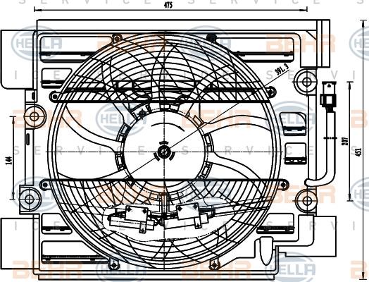 Ventilateur de condenseur HELLA 8EW 351 040-101 (X1)