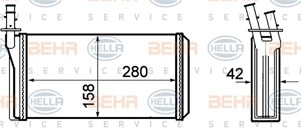 Radiateur de chauffage HELLA 8FH 351 308-401 (X1)