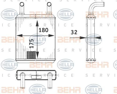 Radiateur de chauffage HELLA 8FH 351 312-581 (X1)