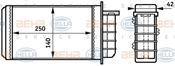 Radiateur de chauffage HELLA 8FH 351 313-191 (X1)