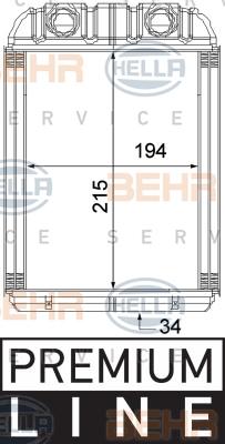 Radiateur de chauffage HELLA 8FH 351 315-351 (X1)