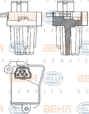 Servo moteur de ventilateur de chauffage HELLA 5HL 351 321-331 (X1)