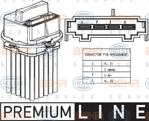 Servo moteur de ventilateur de chauffage HELLA 5HL 351 321-491 (X1)