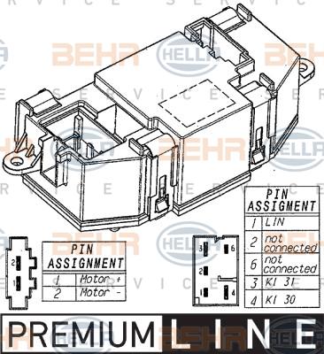 Servo moteur de ventilateur de chauffage HELLA 5HL 351 321-521 (X1)
