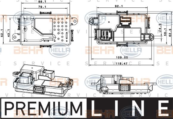 Servo moteur de ventilateur de chauffage HELLA 5HL 351 321-651 (X1)