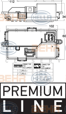 Servo moteur de ventilateur de chauffage HELLA 5HL 351 321-671 (X1)