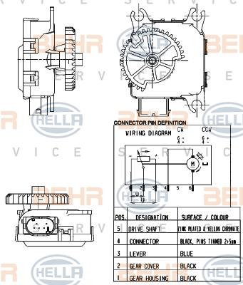 Actionneur de climatisation HELLA 6NW 351 344-001 (X1)