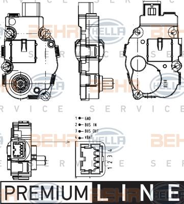 Actionneur de climatisation HELLA 6NW 351 344-041 (X1)