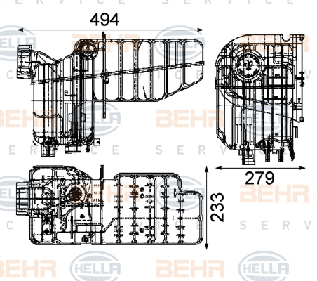 Vase d'expansion HELLA 8MA 376 705-464 (X1)